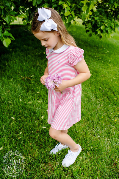 Maude's Polo Dress - Hamptons Hot Pink Stripe with Lauderdale Lavender Stork