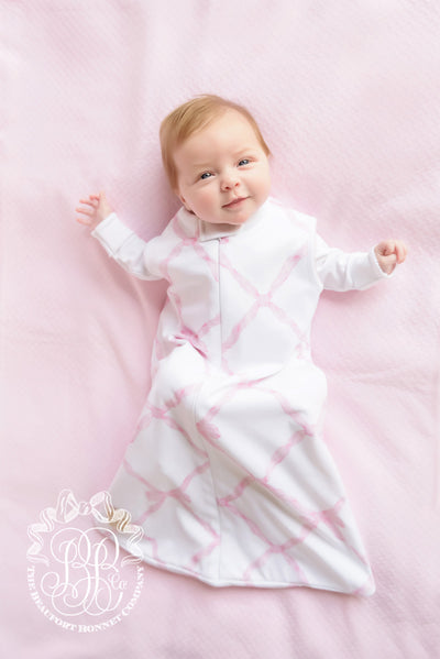 Beddie Bye Sleep Sack - Belle Meade Bow with Plantation Pink