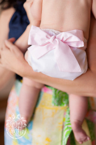 Baby Bow Bottom Bloomer - Worth Ave. White with Palm Beach Pink