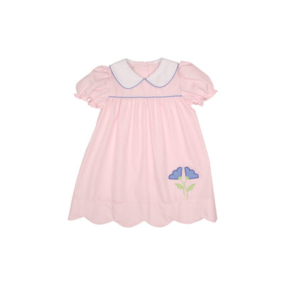 Daphne Dress - Plantation Pink with Periwinkle Flower Applique