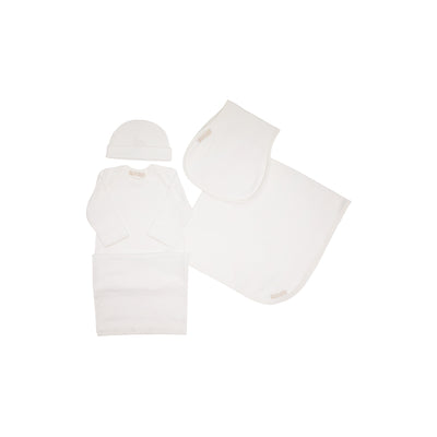 Darling Debut Gift Set (with snaps) - Worth Ave. White with Palmetto Pearl