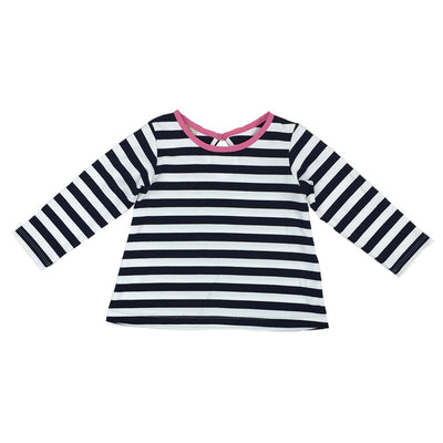 Eloise's Elbow Patch Top - Nantucket Navy Stripe with Strawberry Applique