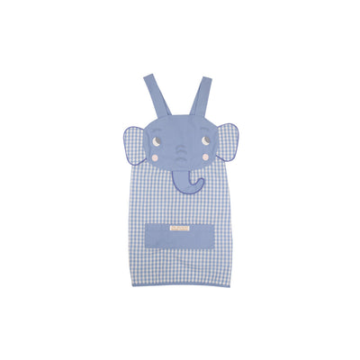 Emerson Art Apron - Elephant with Park City Periwinkle Check