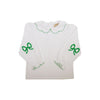 Emma's Elbow Patch Top - Worth Avenue White with Green Picot Trim & Bow Elbow Patches