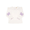 Emma's Elbow Patch Top - Worth Avenue White with Lauderdale Lavender Bows