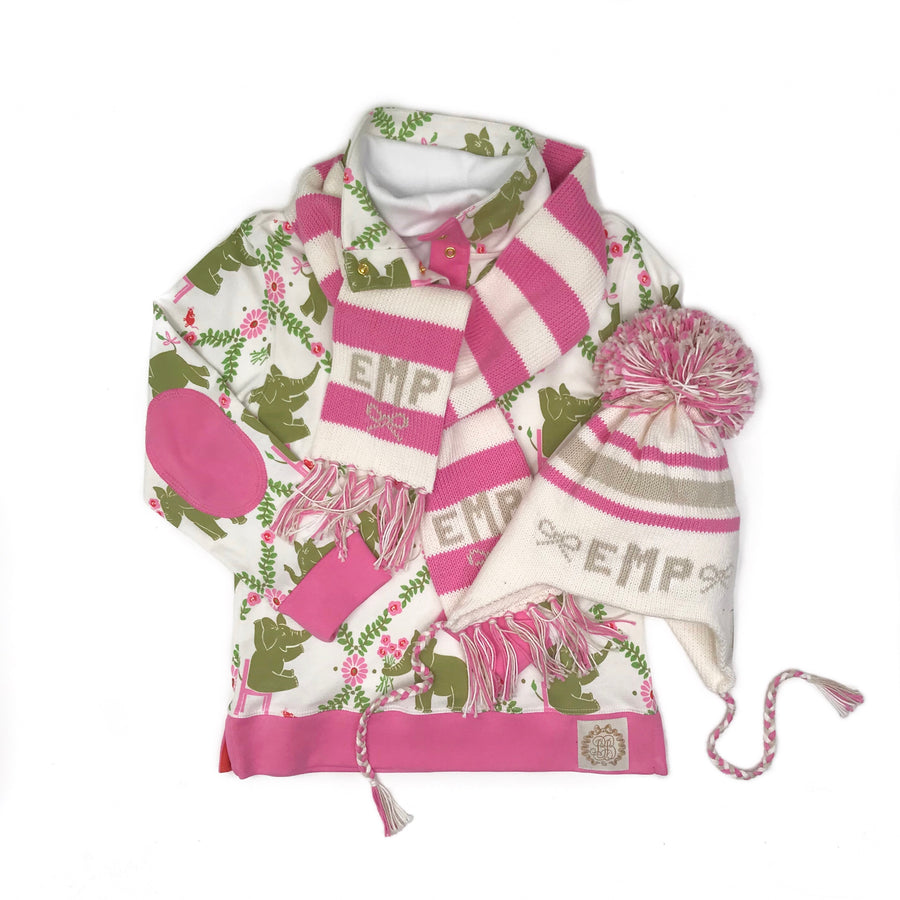 Frances Fringe Scarf - Palmetto Pearl with Hamptons Hot Pink and Keeneland Khaki