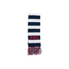 Frances Fringe Scarf - Nantucket Navy and White with Richmond Red