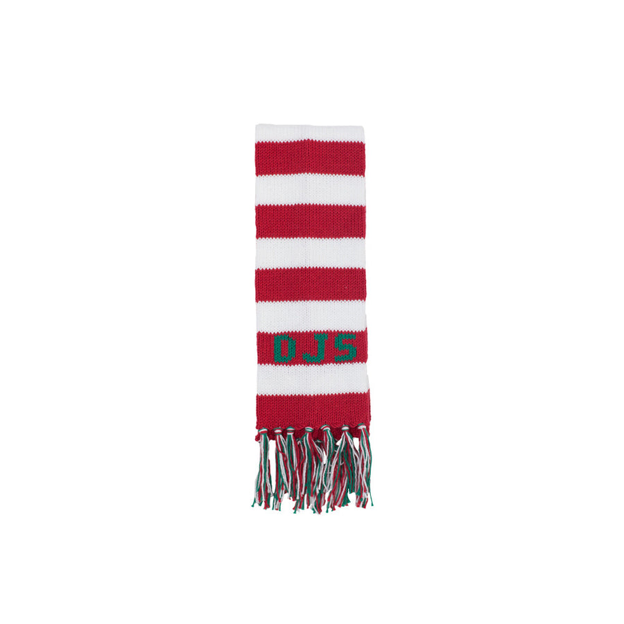 Frances Fringe Scarf - Richmond Red and White with Kelly Green