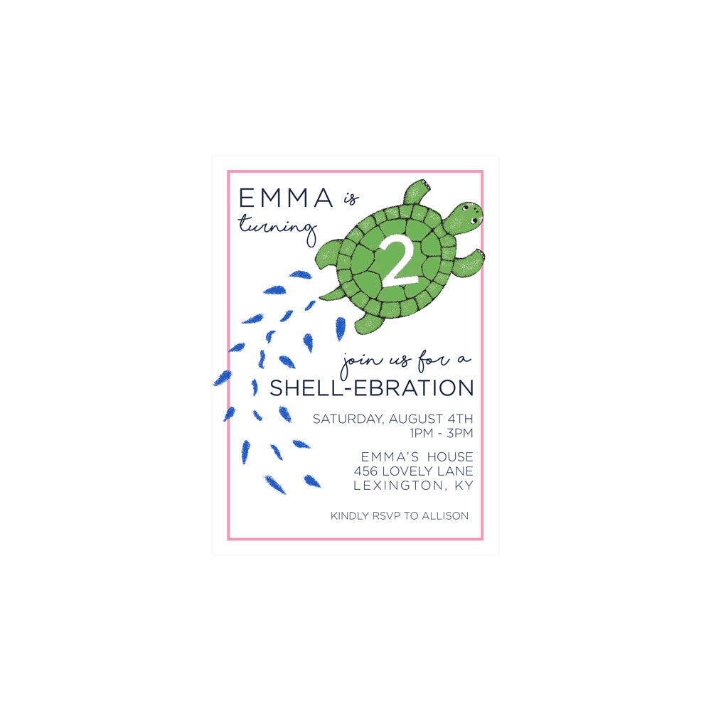 Birthday Invitations - Slow & Steady with Pink Trim - The Beaufort ...