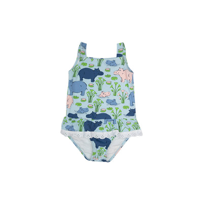 Grace Bay Bathing Suit - Bal Harbour Hippo with Worth Avenue White Eyelet