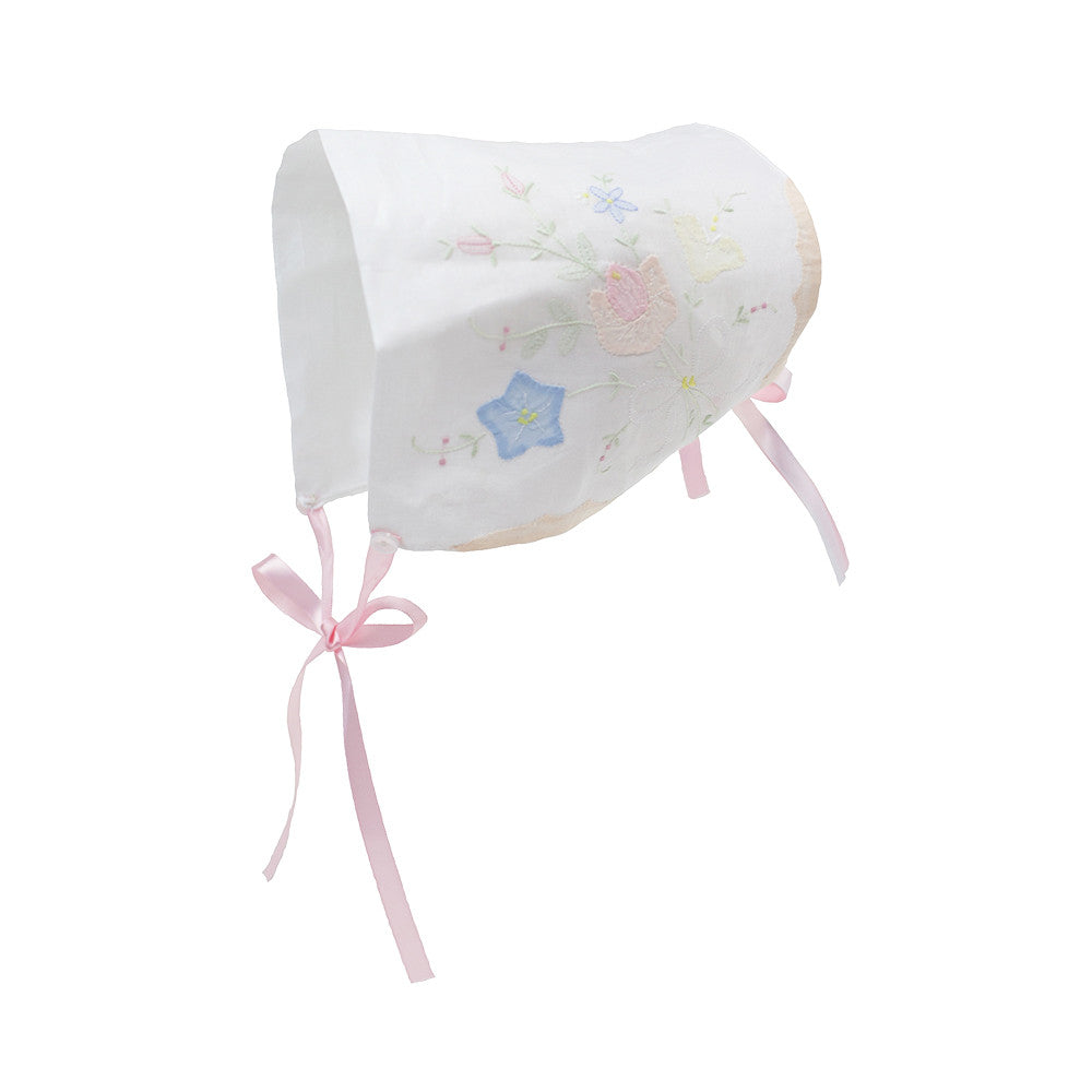 Baby To Bride Handkerchief Bonnet - Worth Avenue White with Plantation Pink and Buckhead Blue