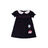 Holly Day Dress - Nantucket Navy with Hamptons Hot Pink and Gift Applique