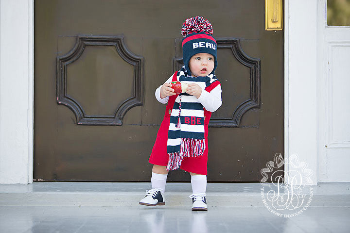Parrish Pom Pom Hat - Nantucket Navy and Richmond Red with White
