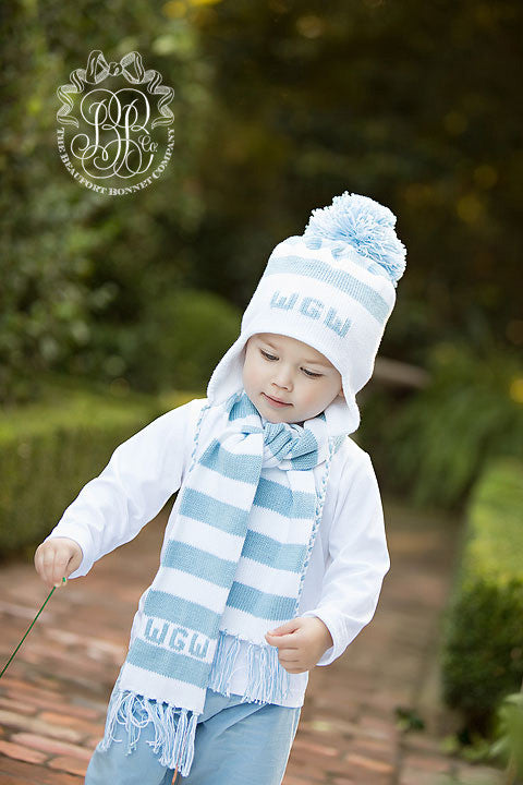 Parrish Pom Pom Hat - Worth Avenue White with Buckhead Blue