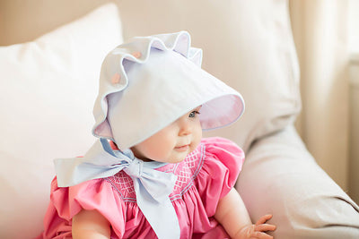 Beaufort Bonnet - Buckhead Blue with Plantation Pink and Pink Flower Buttons