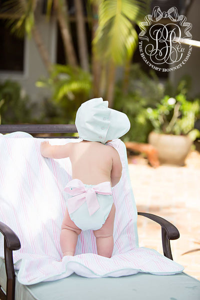 Baby Bow Bottom Bloomer - Sea Island Seafoam with Plantation Pink