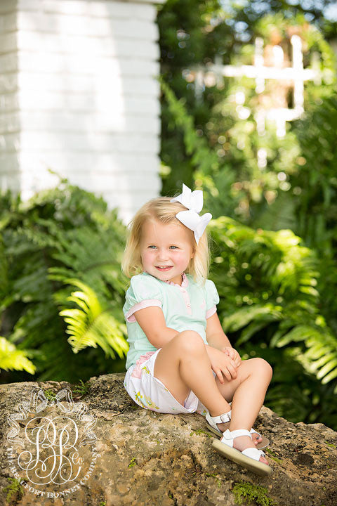 Little Miss Prim and Proper Onesie - Sea Island Seafoam with Plantation Pink Ruffle