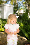Little Miss Prim and Proper Polo Onesie - Plantation Pink with Sea Island Seafoam Ruffle