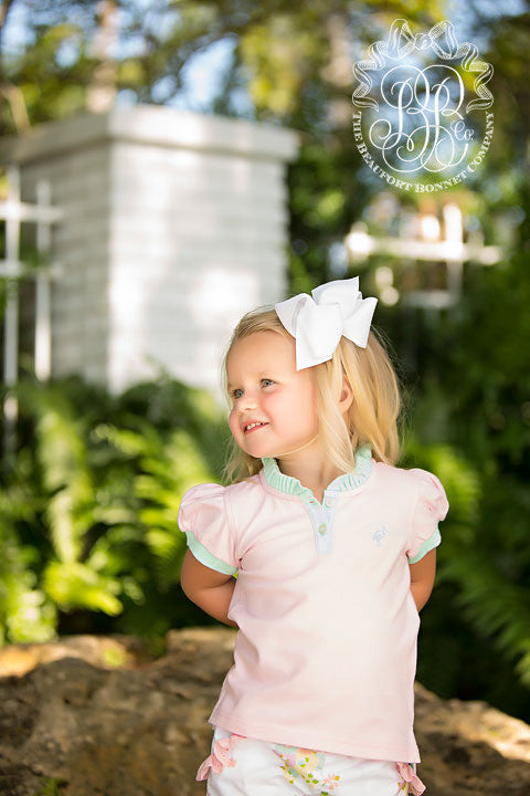 Little Miss Prim and Proper Polo Shirt - Plantation Pink with Sea Island Seafoam Ruffle