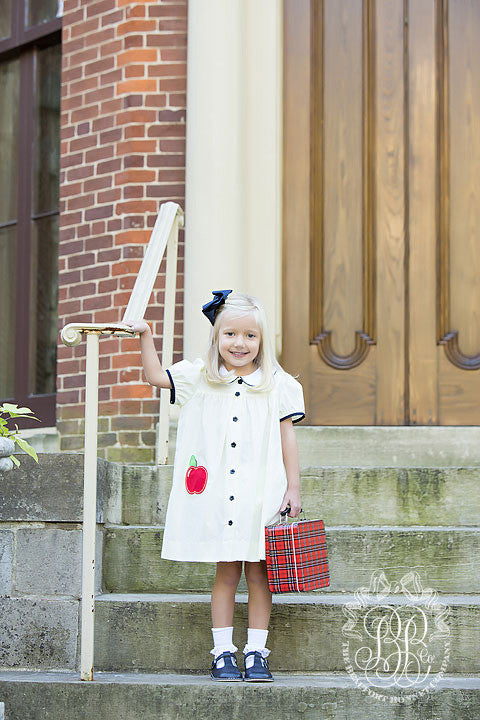 Tabitha's Teacher's Pet Dress - Bellport Butter with Nantucket Navy and Apple Pocket