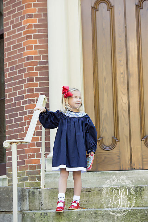 Long Sleeve Sandy Smocked Dress - Nantucket Navy with White