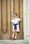 Sandy Smocked Dress - Bellport Butter with Nantucket Navy and Apple Applique