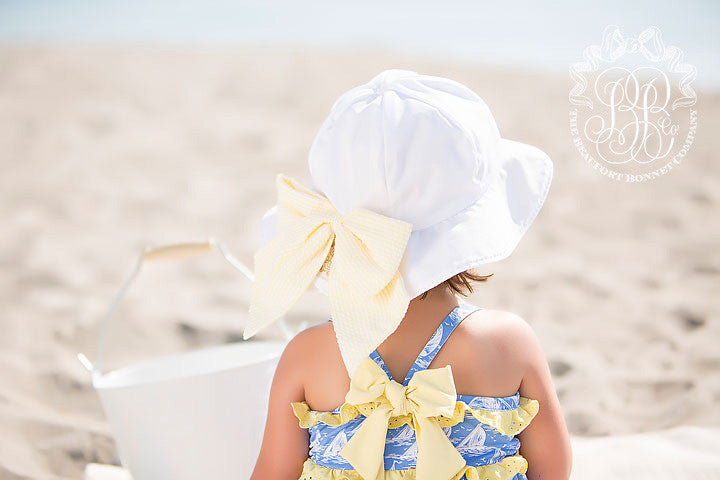 Pippa Petal Hat - Worth Avenue White with Seaside Sunny Yellow Seersucker