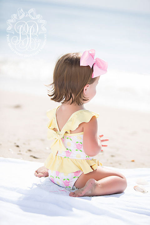 St. Lucia Swimsuit - Fairhope Flowers with Seaside Sunny Yellow