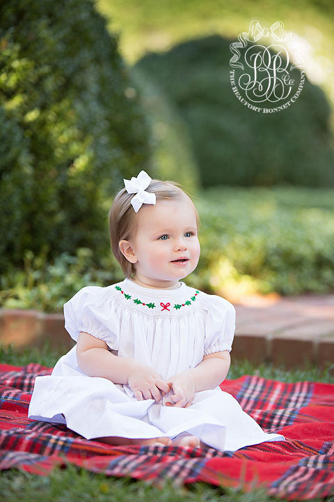 Sandy Smocked Dress - Worth Avenue White with Bow and Holly Smocking