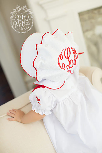Bellefaire Bonnet - Worth Ave. White Dixie Dot with Richmond Red Silk Trim