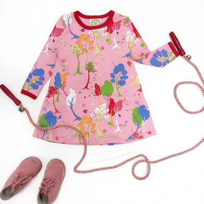 Long Sleeve Polly Play Dress - Fairfield Foliage with Richmond Red