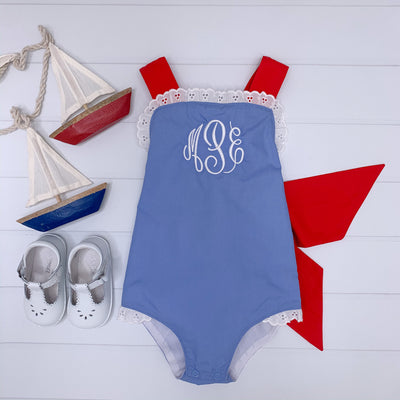 Sisi Sunsuit - Park City Periwinkle with Richmond Red