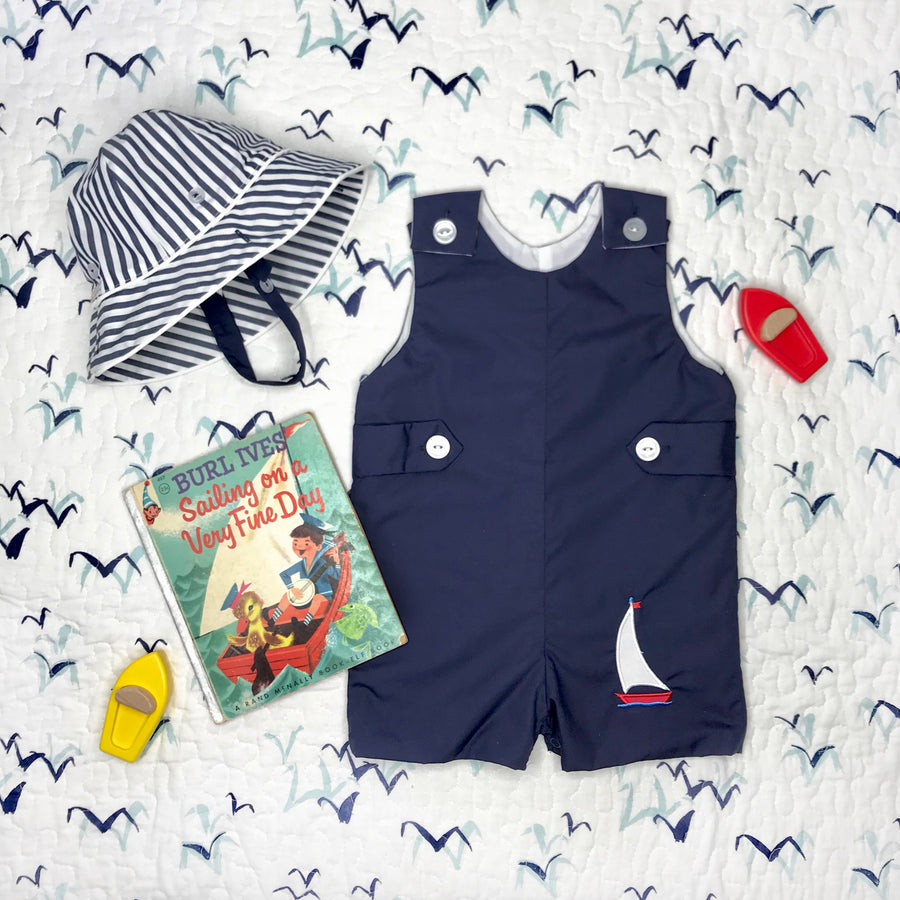 Jack Keene Jon Jon - Nantucket Navy with Sailboat Applique