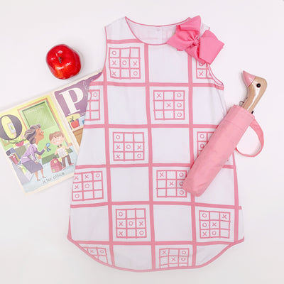 Annie Apron Dress - X's & O's with Hampton Hot Pink