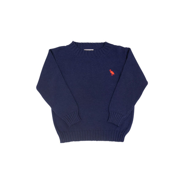 Isaac S Sweater Nantucket Navy With Richmond Red Stork