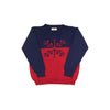 Isaac's Intarsia Sweater - Nantucket Navy & Richmond Red with Snowflake Intarsia