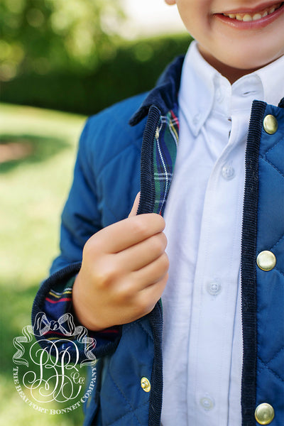Caldwell's Quilted Jacket - Nantucket Navy with Plaid Lining