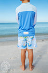 Wave Spotter Swim Shirt - Barbados Blue with Worth Avenue White, Buckhead Blue and White Stork