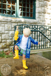 Liquid Sunshine Slicker - Rockefeller Royal Blue with Primary School Plaid