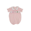 Smocked Holly Day Bubble - Plantation Pink with Jockey Silk Smocking