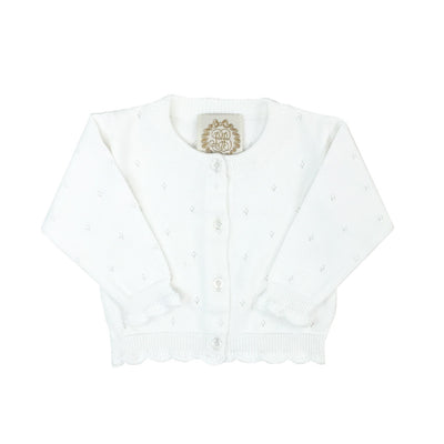 Kitty Cardigan - Worth Avenue White Pointelle Knit