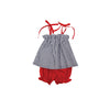 Lainey's Little Set - Nantucket Navy Stripe with Richmond Red Bloomers