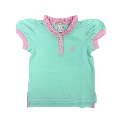 Little Miss Prim and Proper Shirt - Sea Island Seafoam with Plantation Pink Ruffle