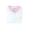 Little Miss Prim and Proper Polo Onesie - Worth Avenue white with Plantation Pink