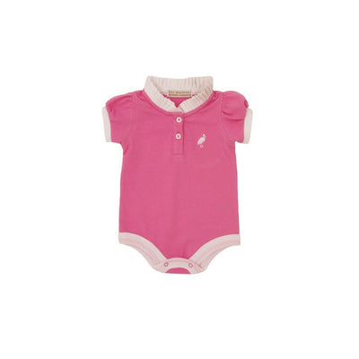 Little Miss Prim & Proper Polo Onesie - Hamptons Hot Pink with Worth Avenue White