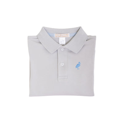 Long Sleeve Prim & Proper Polo - Grantley Gray with Barbados Blue Stork