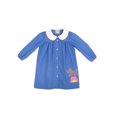 Long Sleeve Tabitha's Teacher's Pet Dress - Barbados Blue with Hamptons Hot Pink & Elephant Applique