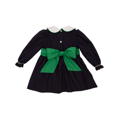 Long Sleeve Cindy Lou Sash Dress - Nantucket Navy with Kiawah Kelly Green