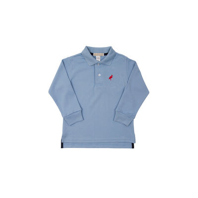Long Sleeve Prim & Proper Polo - Buckhead Blue with Richmond Red Stork