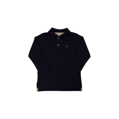 Long Sleeve Prim and Proper Polo - Nantucket Navy with Kiawah Kelly Green